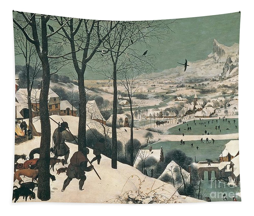 Hunters Tapestry featuring the painting Hunters in the Snow by Pieter the Elder Bruegel