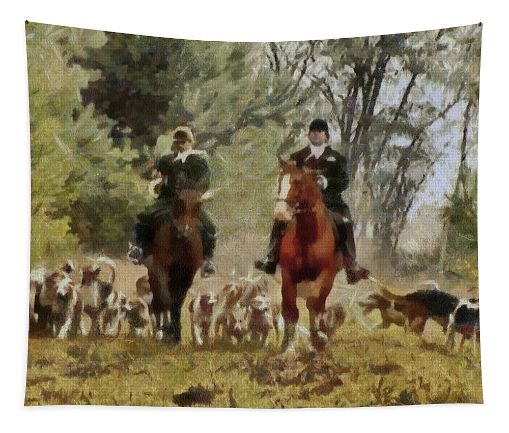 Horses Tapestry featuring the painting Hunting Dogs For Wild Boar by Sergey Lukashin