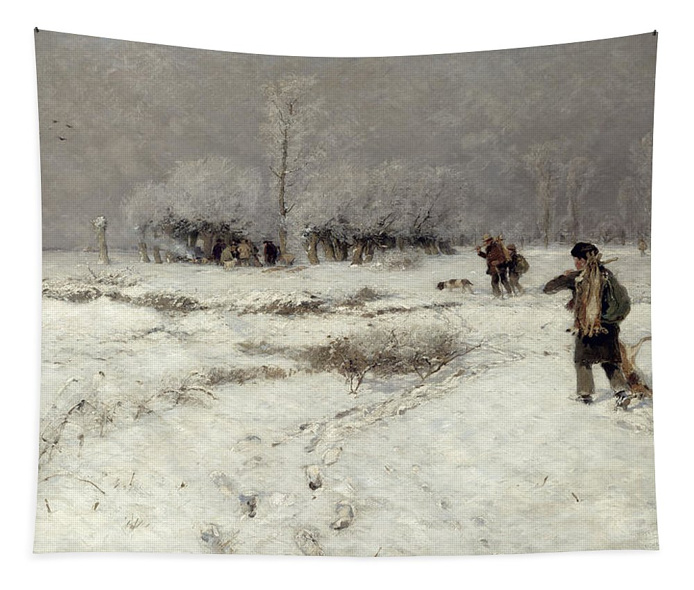 Hunting Tapestry featuring the painting Hunting In The Snow by Hugo Muhlig