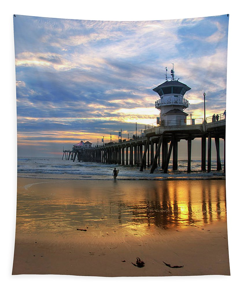 Huntington Beach Pier Tapestry featuring the photograph Huntington Beach Pier Sunset by K D Graves