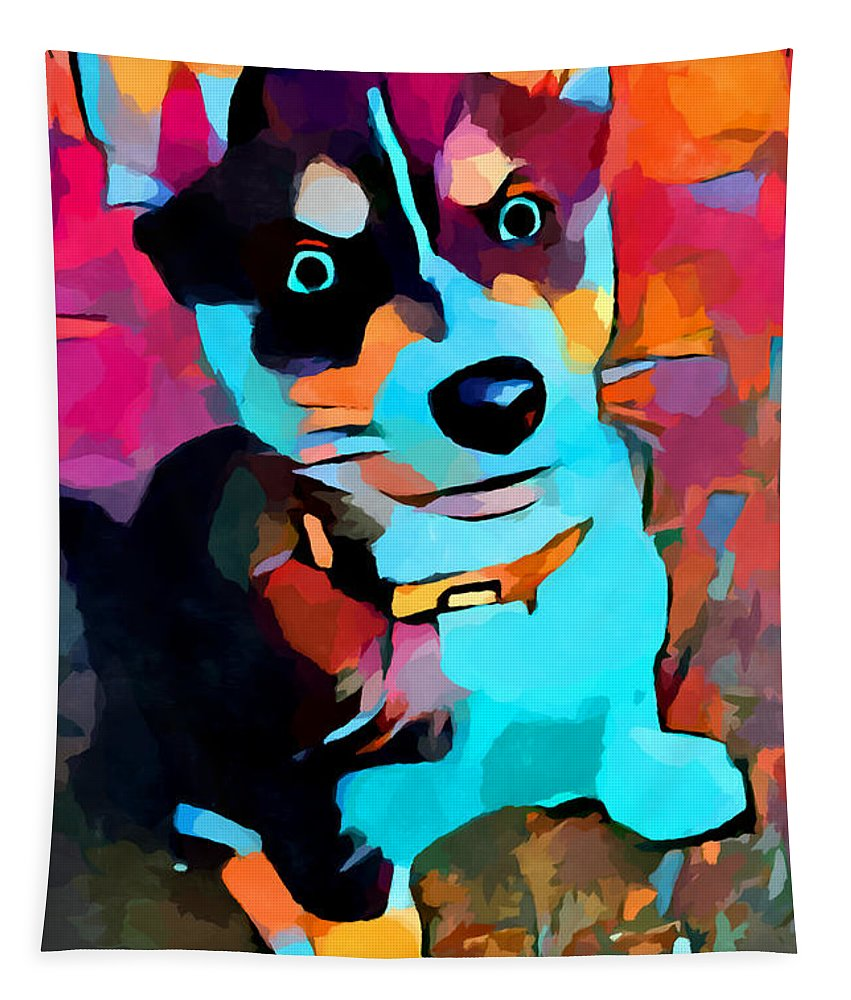 Husky Tapestry featuring the painting Husky 3 by Chris Butler
