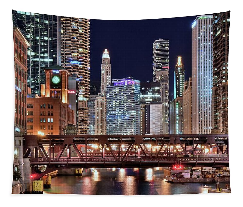 Chicago Tapestry featuring the photograph Hustle And Bustle Night Lights In Chicago by Frozen in Time Fine Art Photography