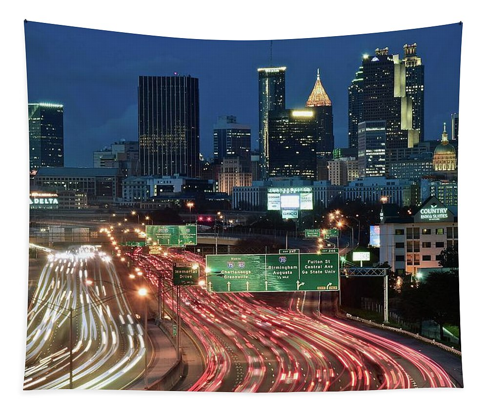 Atlanta Tapestry featuring the photograph Hustle And Bustle Of Atlanta Roadways by Frozen in Time Fine Art Photography