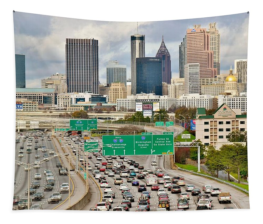 Atlanta Tapestry featuring the photograph Hustle And Bustle On The Highways And Byways by Frozen in Time Fine Art Photography