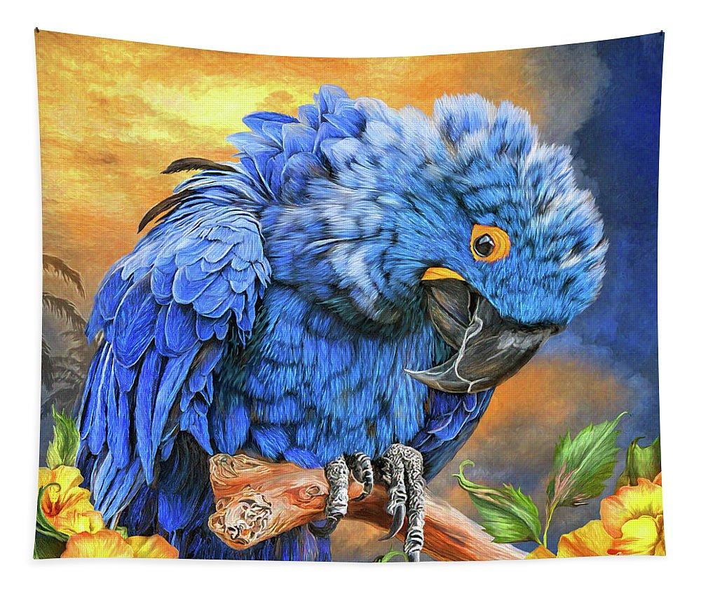 Carol Cavalaris Tapestry featuring the mixed media Hyacinth Macaw by Carol Cavalaris