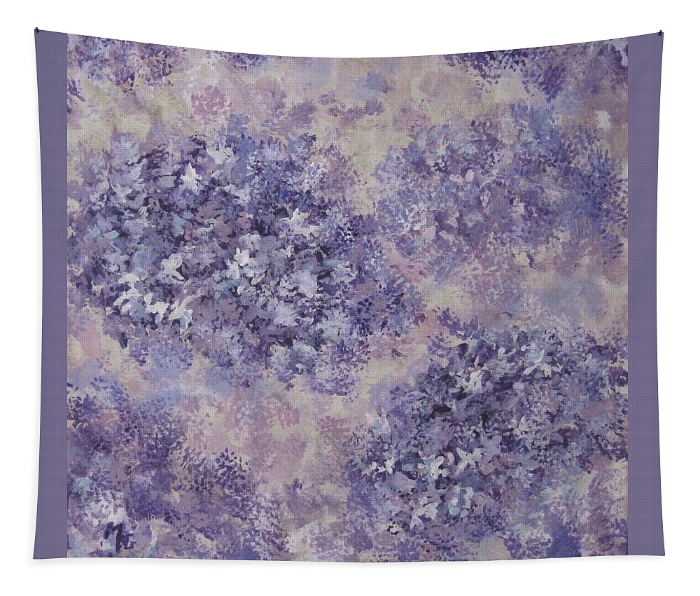 Flowers Tapestry featuring the painting Hydrangea Blossom Abstract 1 by Megan Walsh