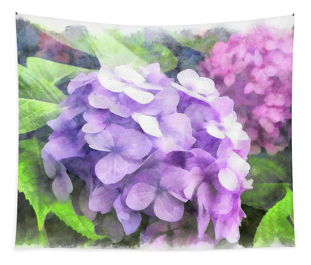 Hydrangea Tapestry featuring the digital art Hydrangea by Leslie Montgomery