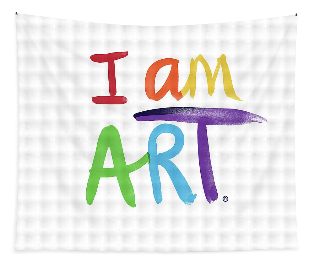 Rainbow Tapestry featuring the painting I AM ART Rainbow Script- Art by Linda Woods by Linda Woods