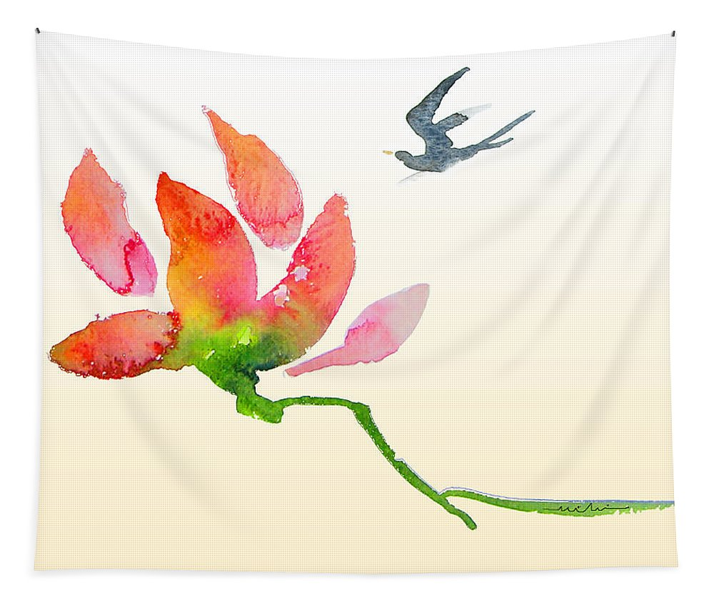 Birds Tapestry featuring the painting i Am Flying To You by Miki De Goodaboom