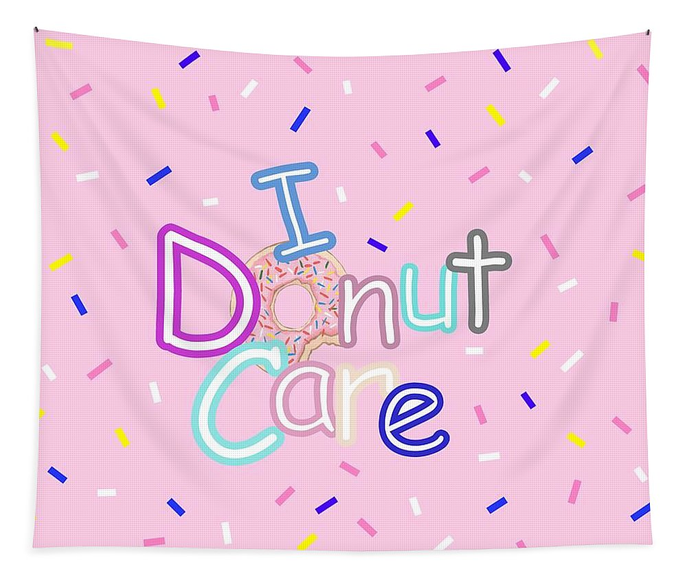 Frosted Sprinkled Donut Art Print Tapestry featuring the digital art I Donut Care by Kathleen Sartoris