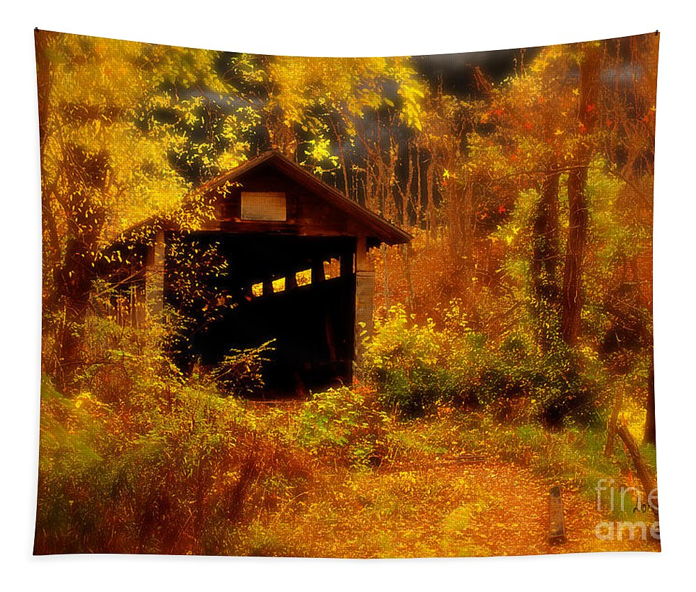 Halloween Tapestry featuring the digital art I Double Dog Dare Ya by Lois Bryan