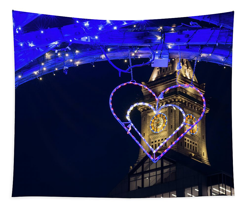 Boston Tapestry featuring the photograph I Heart Boston Ma Christopher Columbus Park Trellis Lit Up For Valentine's Day by Toby McGuire