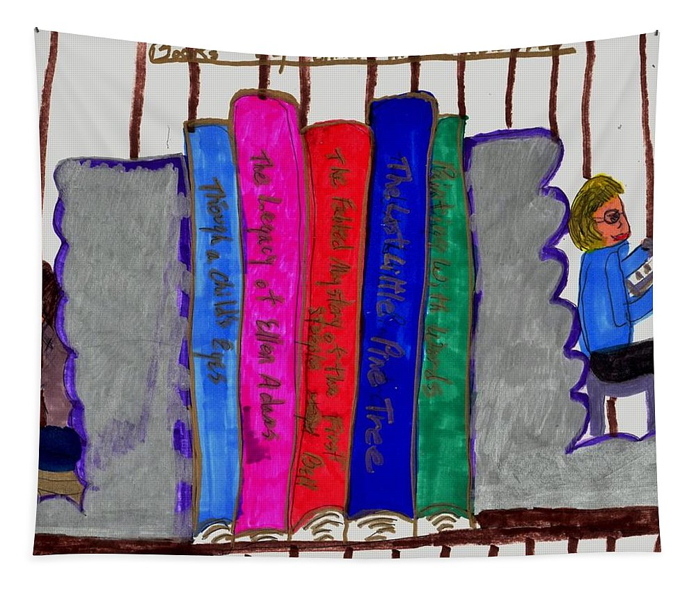 Bookends With Colorful Books Tapestry featuring the mixed media I Like To Read by Elinor Helen Rakowski