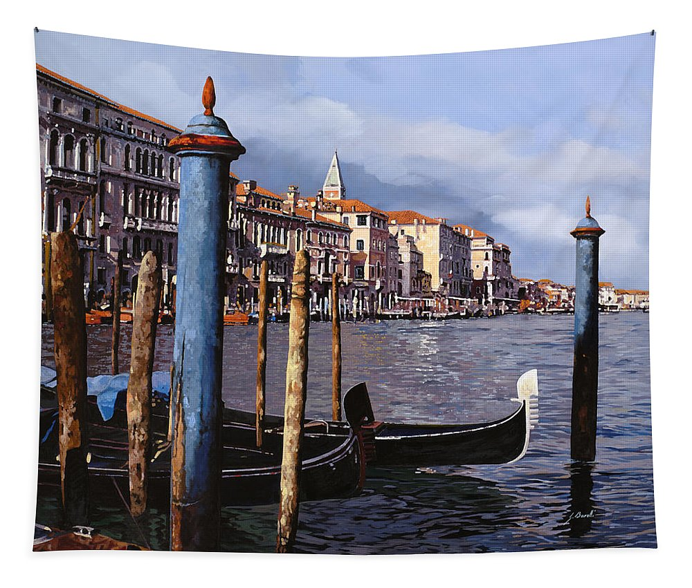 Venice Tapestry featuring the painting I Pali Blu by Guido Borelli