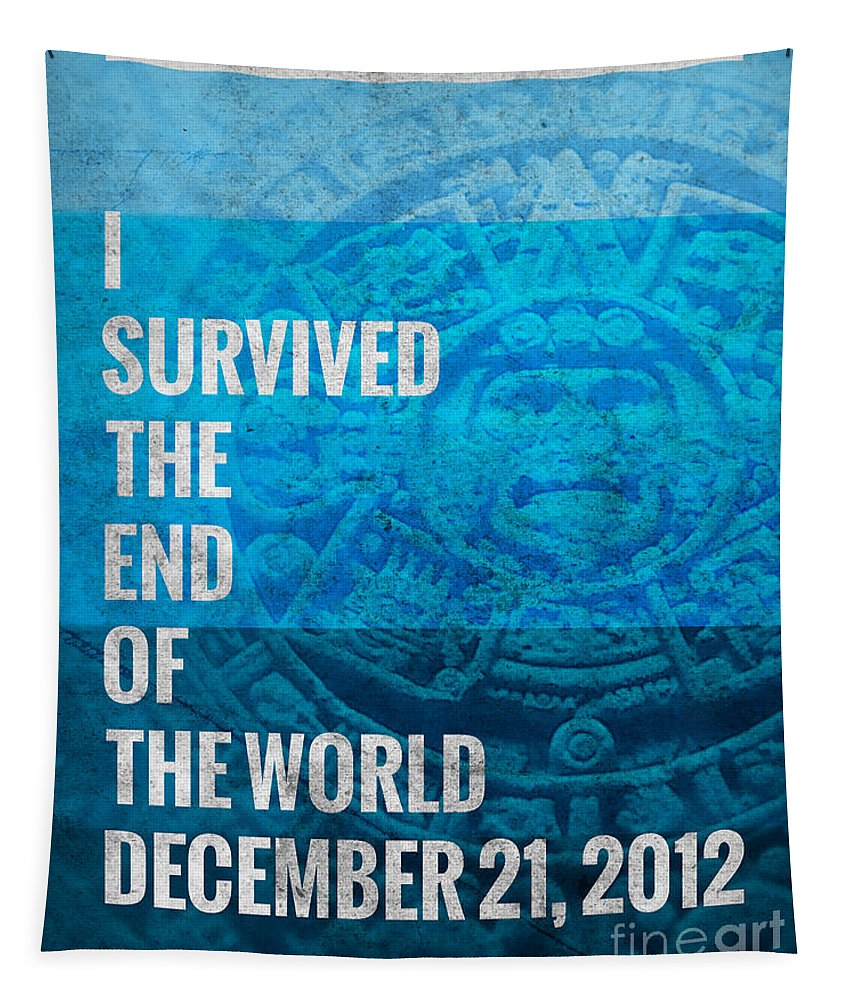 Graphic Design Tapestry featuring the digital art I Survived The End Of The World by Phil Perkins