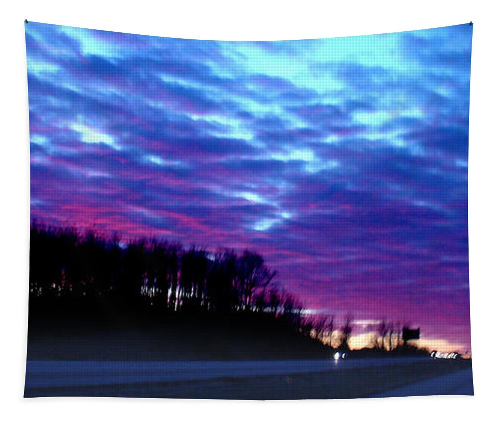 Landscape Tapestry featuring the photograph I70 West Ohio by Steve Karol