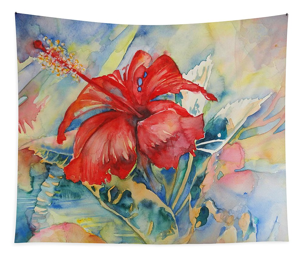 Floral Tapestry featuring the painting Ibiscus by Miki De Goodaboom