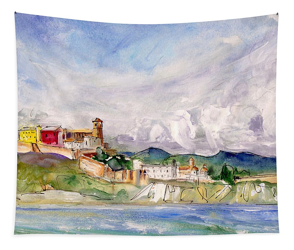 Travel Tapestry featuring the painting Ibiza Panoramic 02 by Miki De Goodaboom