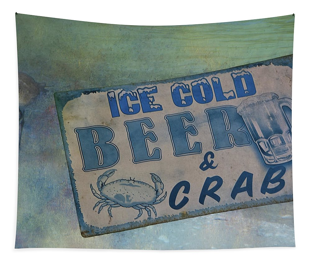 Summer Tapestry featuring the photograph Ice Cold Beer And Crabs - Looks Like Summer At The Shore by Mitch Spence