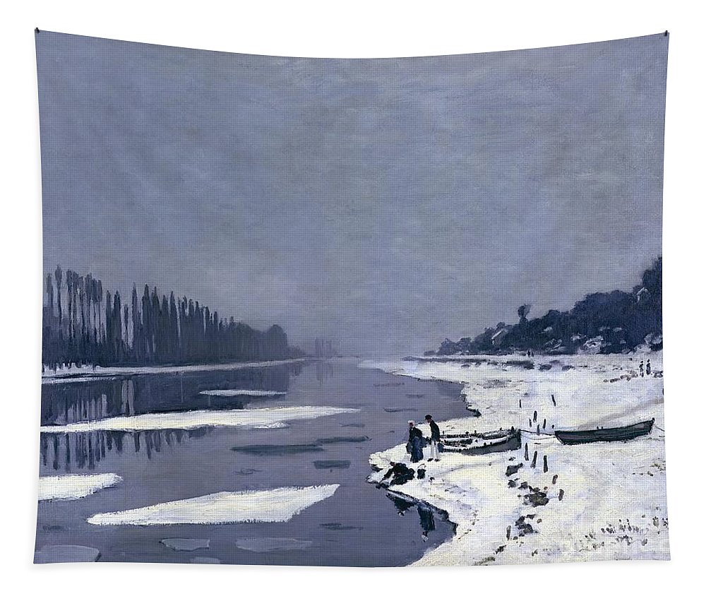 Claude Tapestry featuring the painting Ice On The Seine At Bougival by Claude Monet