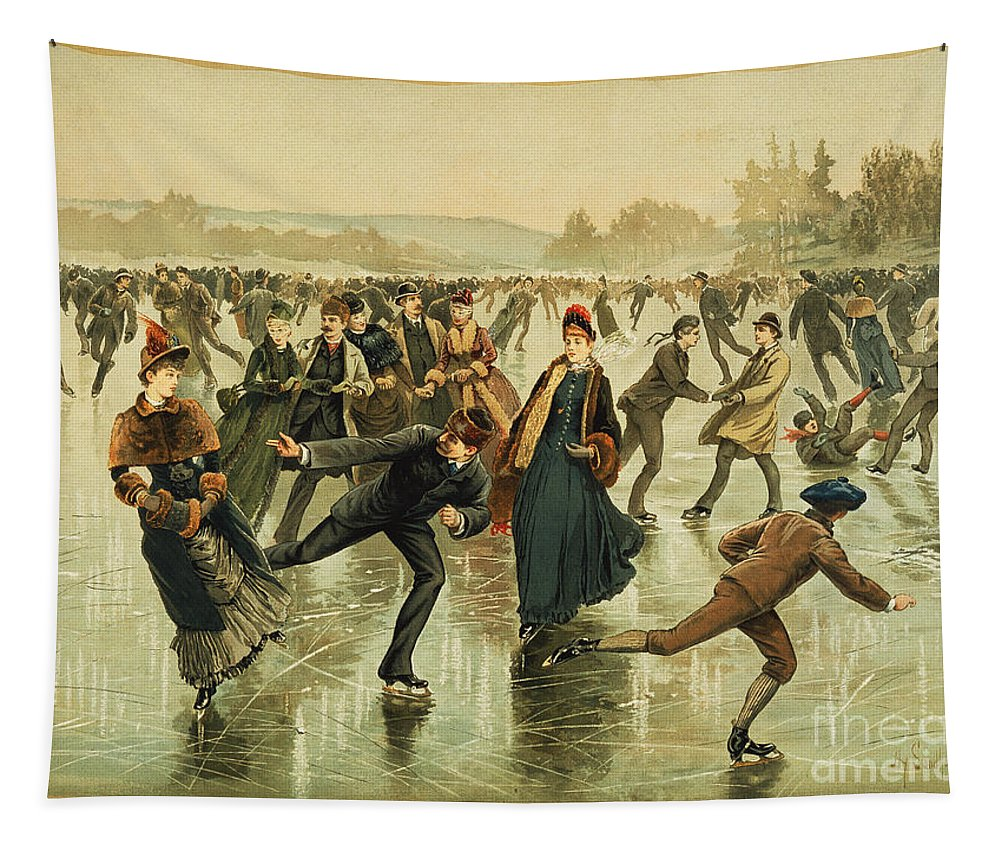 1886 Tapestry featuring the painting Ice Skating, C1886 by Granger
