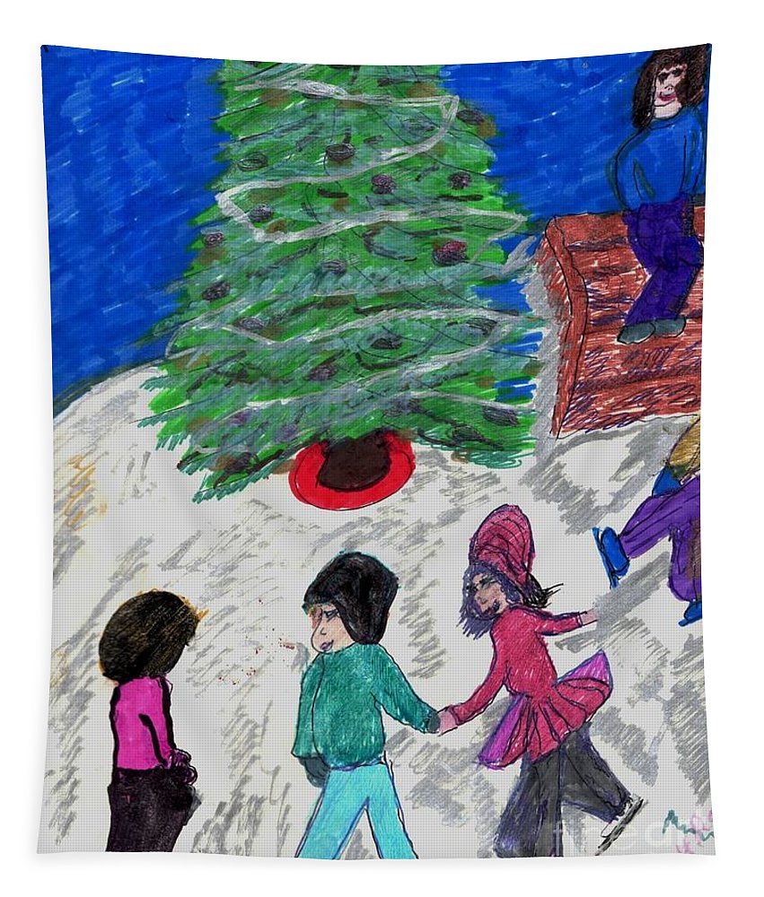 3 Youth Skating A Christmas Tree Tapestry featuring the mixed media Ice Skating In The Park by Elinor Helen Rakowski