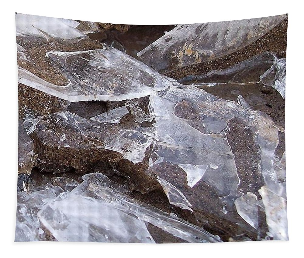 Ice Tapestry featuring the photograph ice by Wolfgang Schweizer