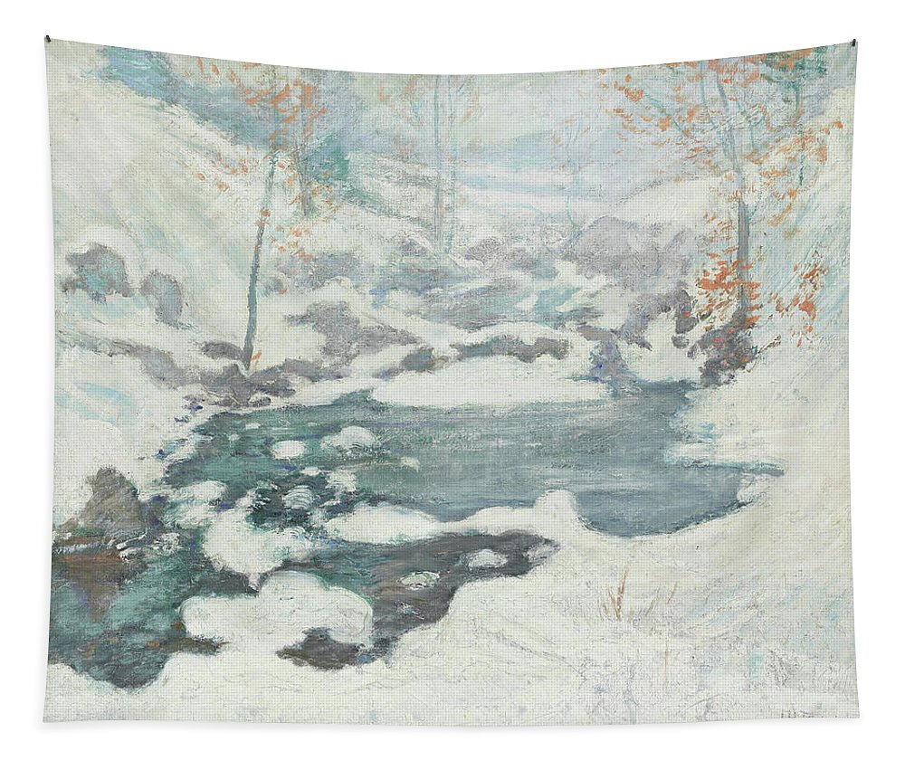 Winter Tapestry featuring the painting Icebound by John Henry Twachtman