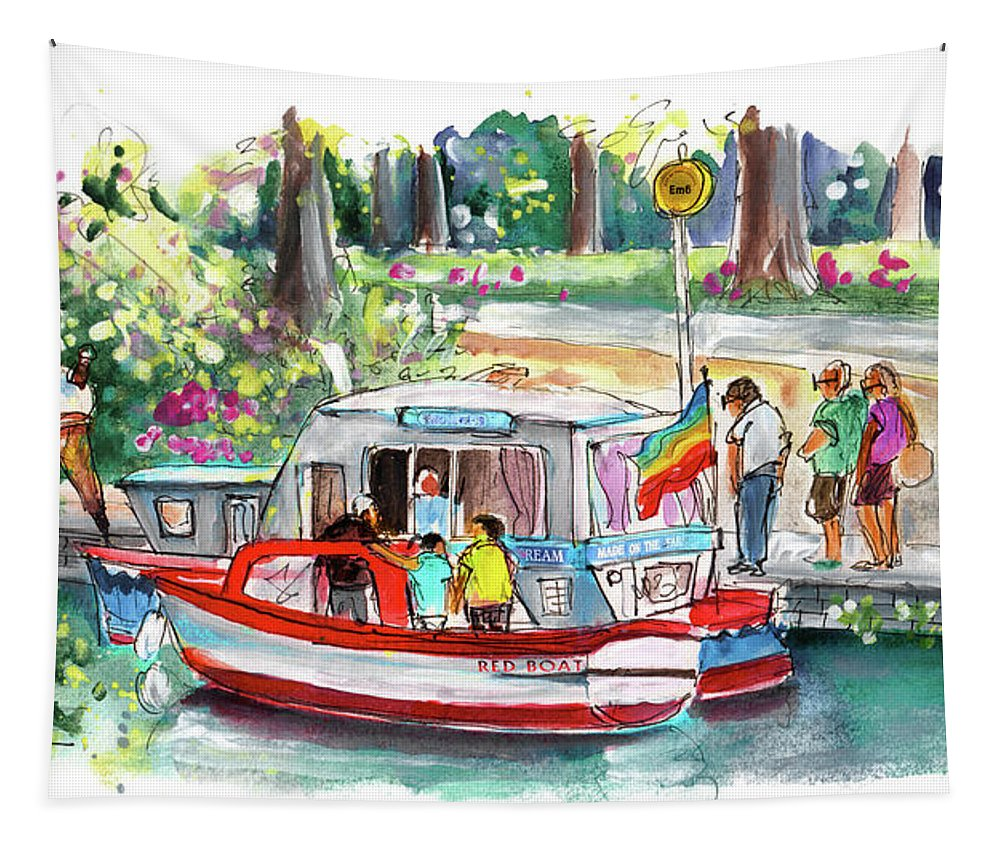 Travel Tapestry featuring the painting Icecream Boat In York by Miki De Goodaboom