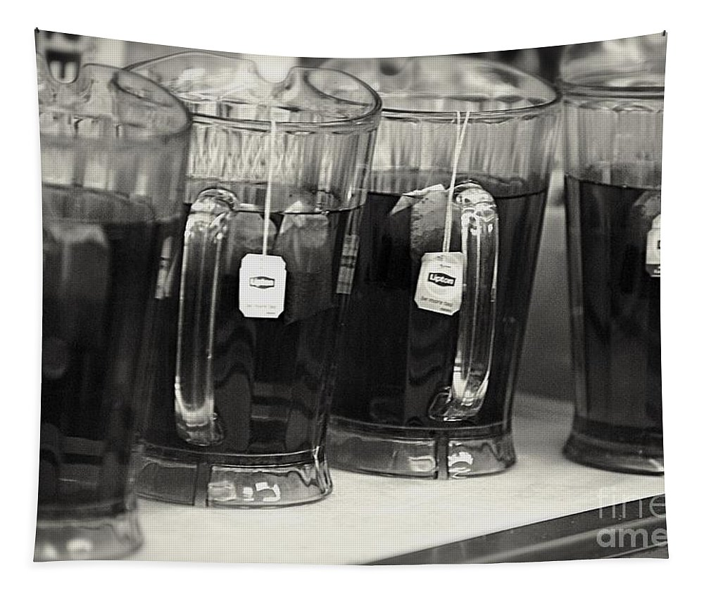 Black And White Tapestry featuring the photograph Iced Tea In Pitchers by Frank J Casella