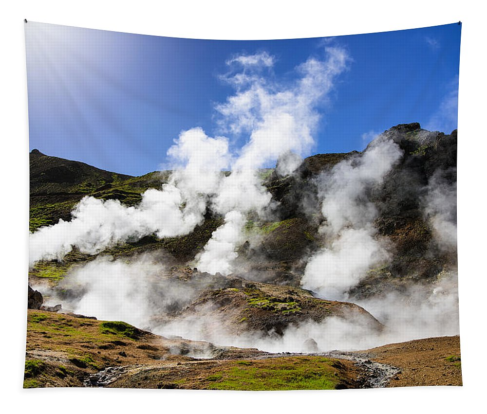 Iceland Tapestry featuring the photograph Iceland Geothermal Area With Steam From Hot Springs by Matthias Hauser