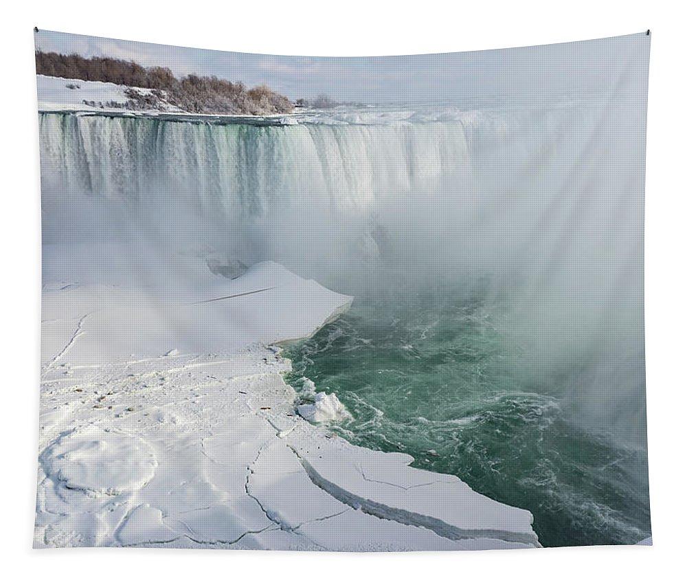 Georgia Mizuleva Tapestry featuring the photograph Icy Fury - Niagara Falls Spectacular Ice Buildup by Georgia Mizuleva