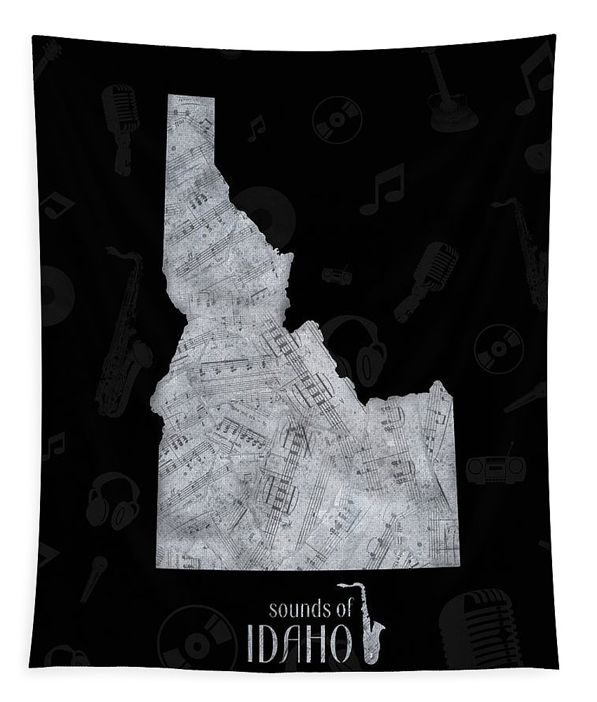 Idaho Tapestry featuring the digital art Idaho Map Music Notes 2 by Bekim Art