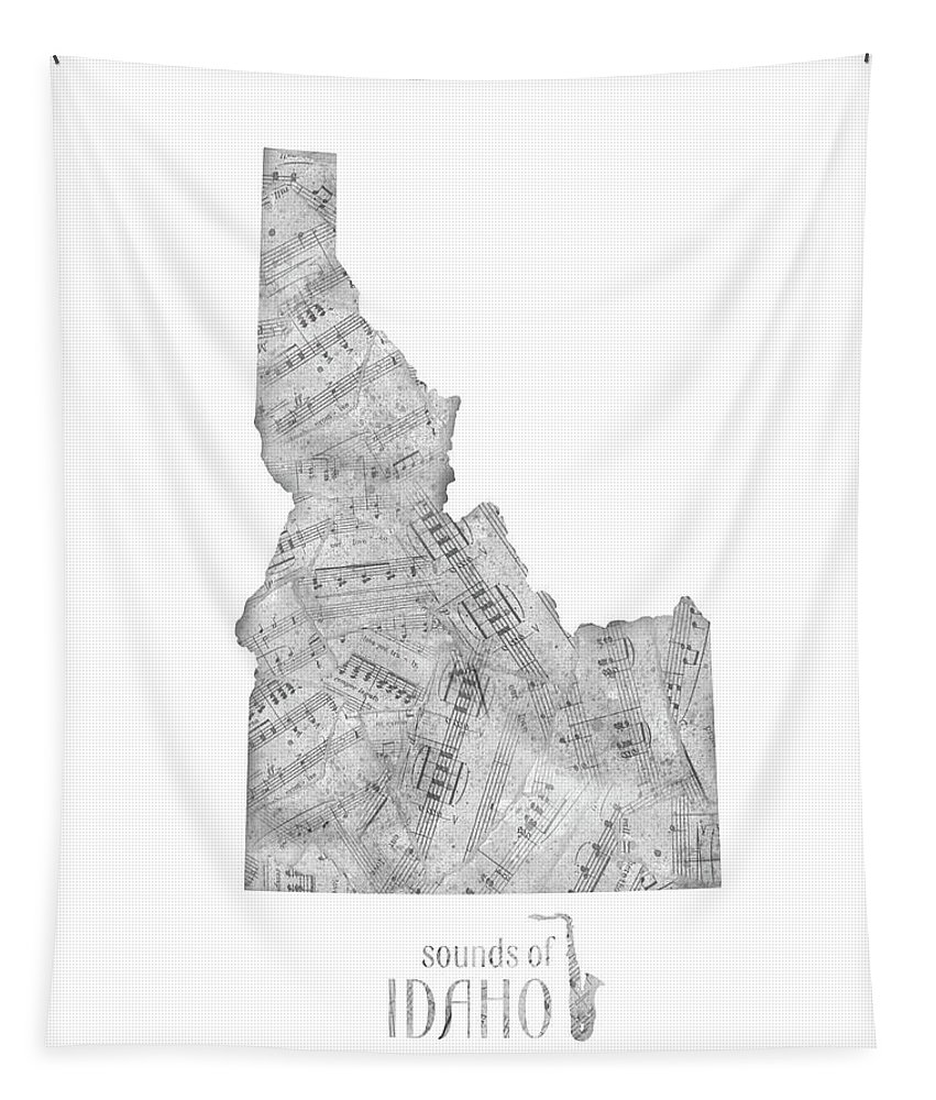 Idaho Tapestry featuring the digital art Idaho Map Music Notes by Bekim Art