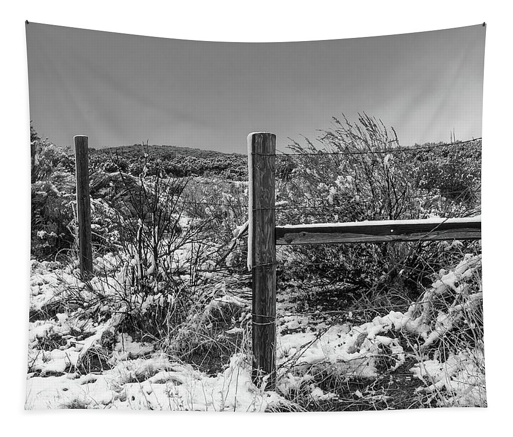 Fence Tapestry featuring the photograph Ih Black And White by Scott Campbell