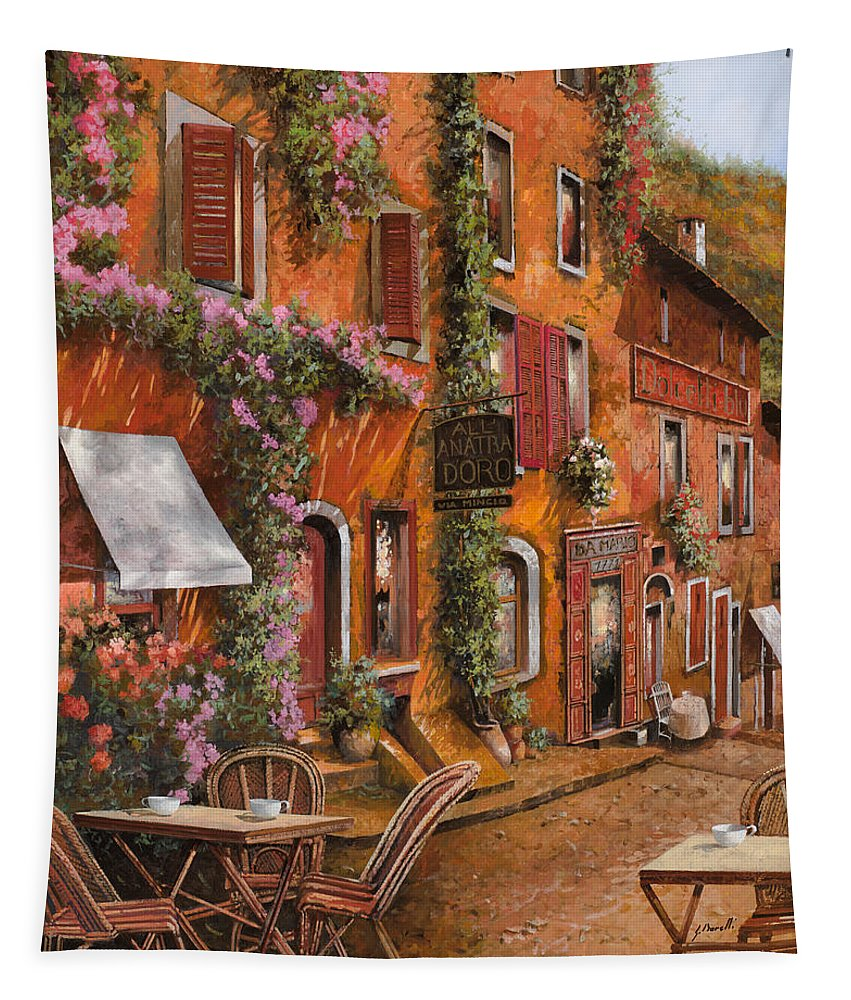 Cityscape Tapestry featuring the painting Il Bar Sulla Discesa by Guido Borelli