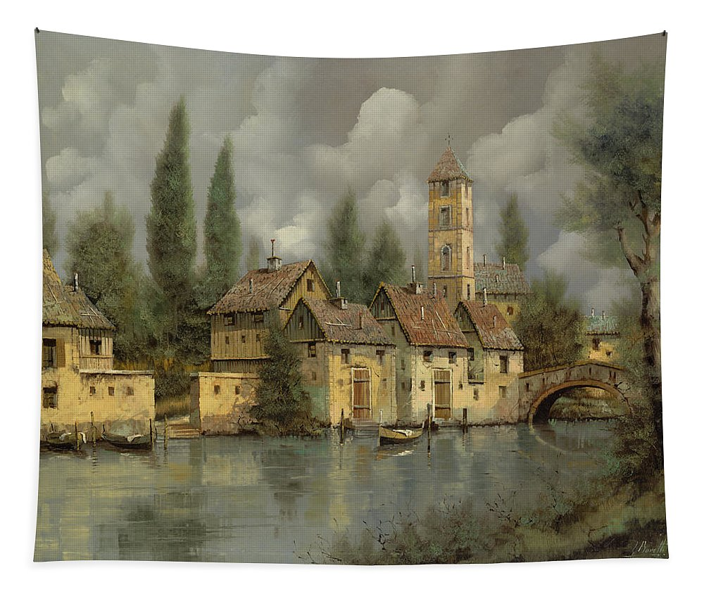 River Tapestry featuring the painting Il Borgo Sul Fiume by Guido Borelli