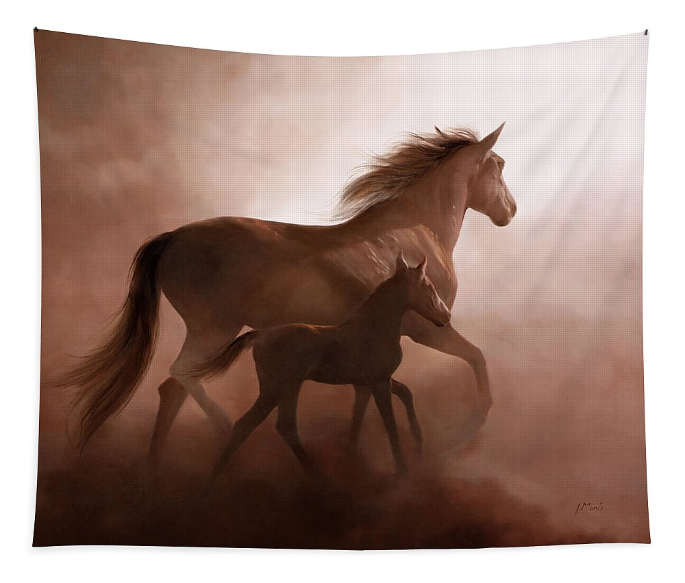 Mustang Tapestry featuring the painting Il Cavallino by Danka Weitzen
