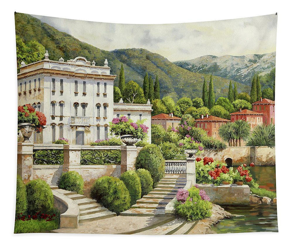 Palace Tapestry featuring the painting Il Palazzo Sul Lago by Guido Borelli