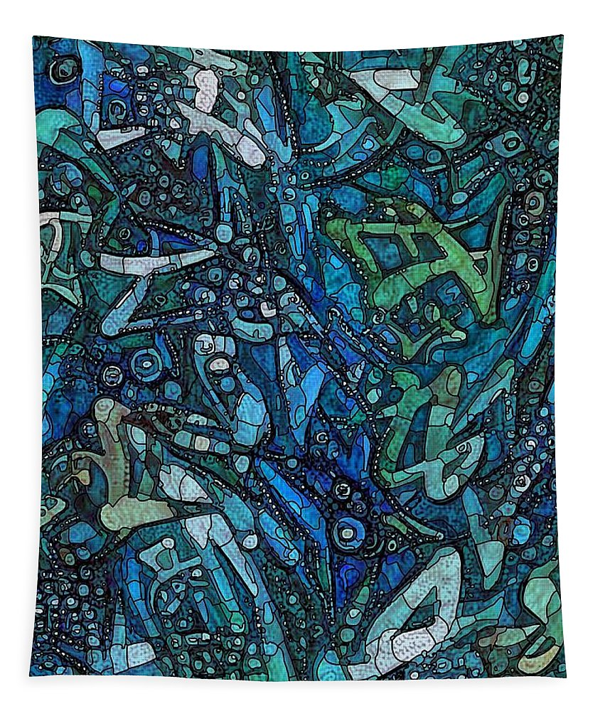 Blue Tapestry featuring the mixed media Illuminated Blue by Philip Openshaw