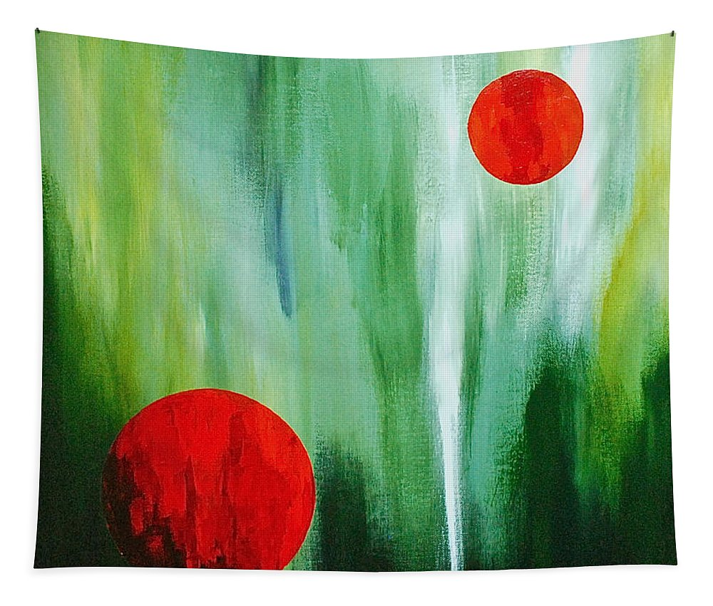 Abstract By Herschel Fall Red And Green Tapestry featuring the painting Illusion Of Light by Herschel Fall