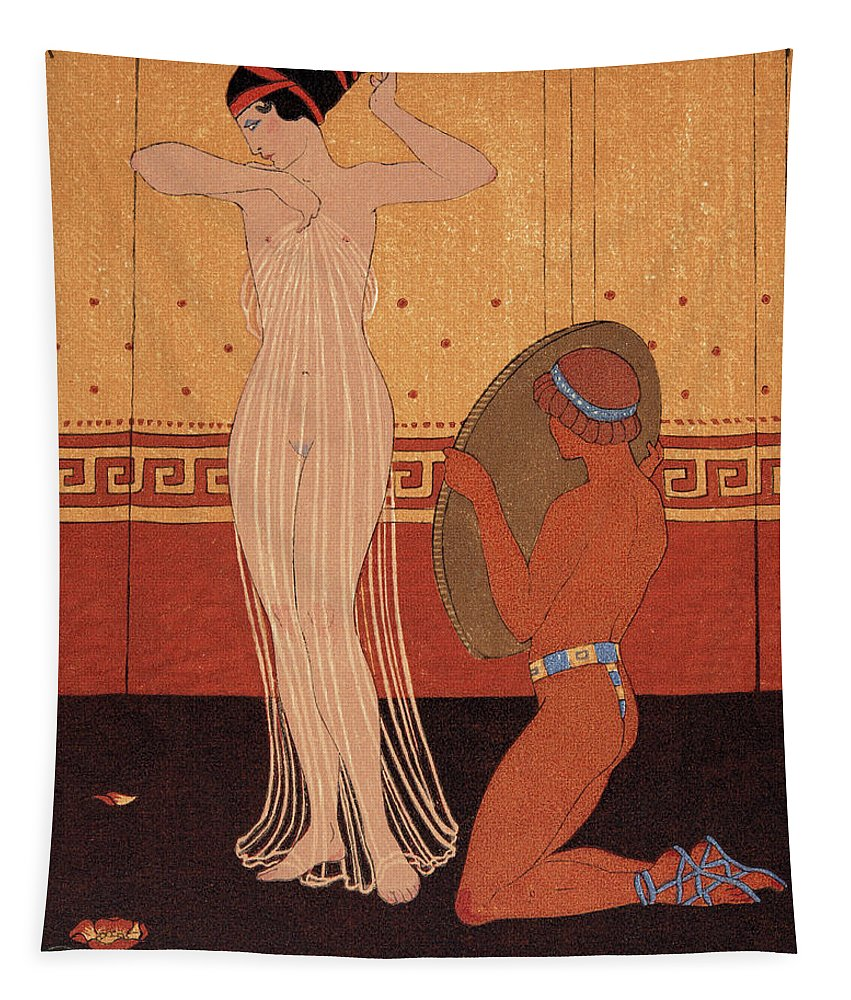 Nude Tapestry featuring the painting Illustration From Les Chansons De Bilitis by Georges Barbier