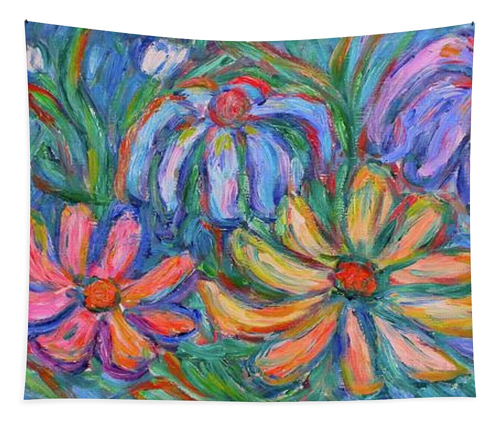 Flowers Tapestry featuring the painting Imaginary Flowers by Kendall Kessler