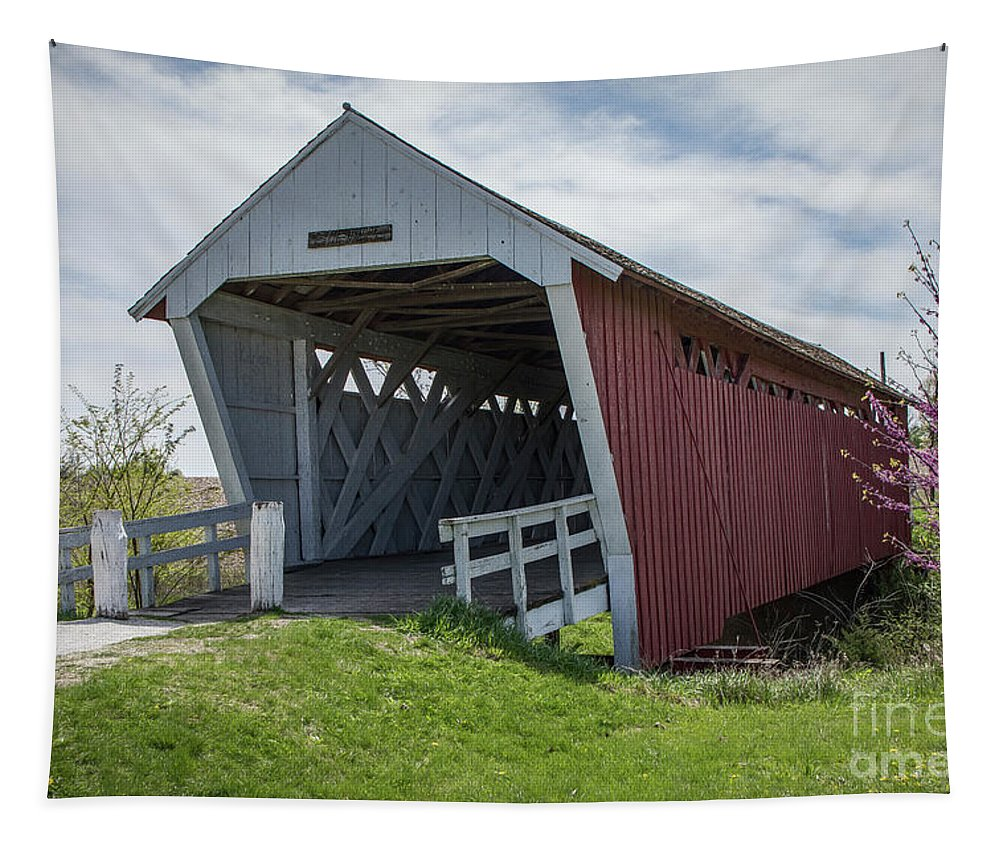 Architecture Tapestry featuring the photograph Imes Covered Bridge 2 by Teresa Wilson