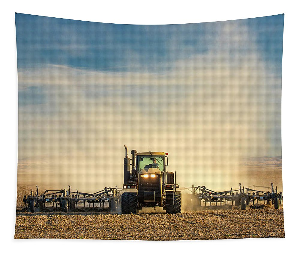 Caterpillar Tapestry featuring the photograph In A Cloud Of Dust by Todd Klassy