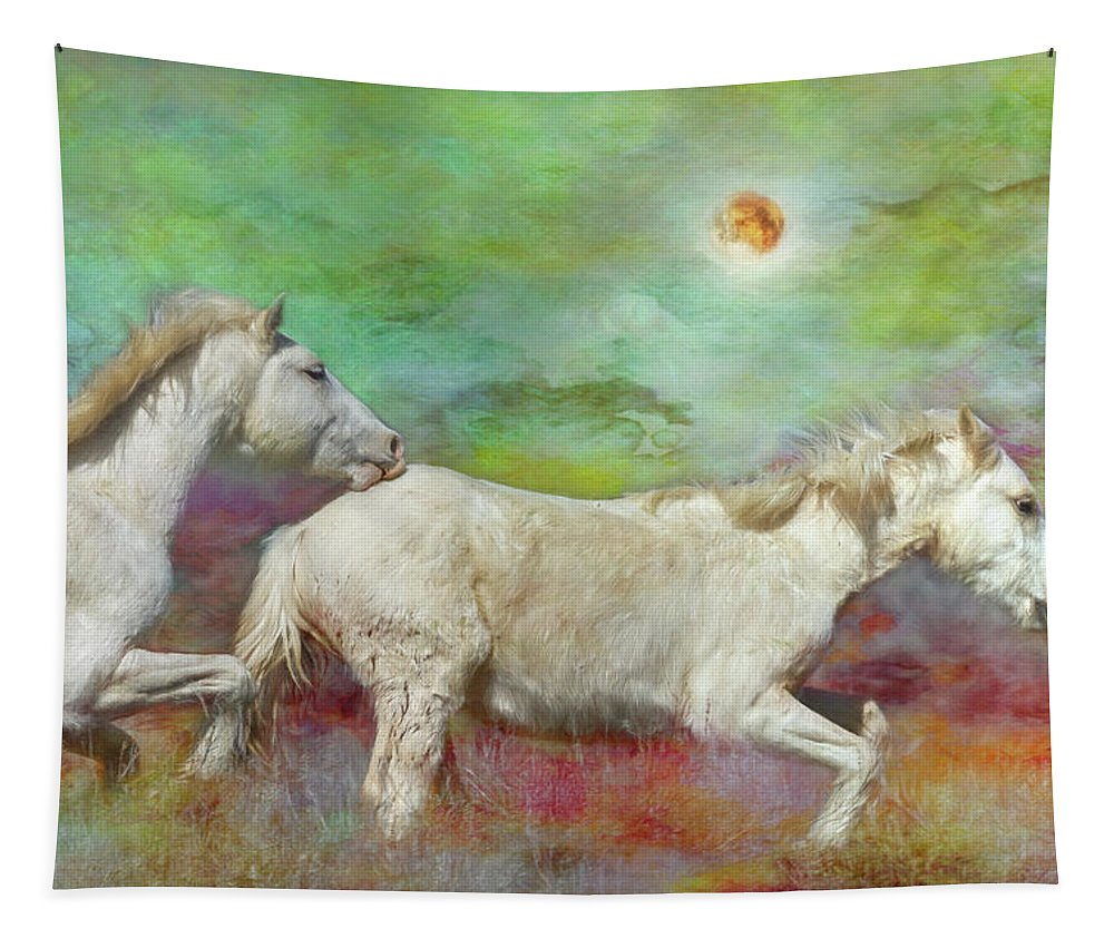 Wild Horses Tapestry featuring the photograph In Another Time Another Place... by Belinda Greb