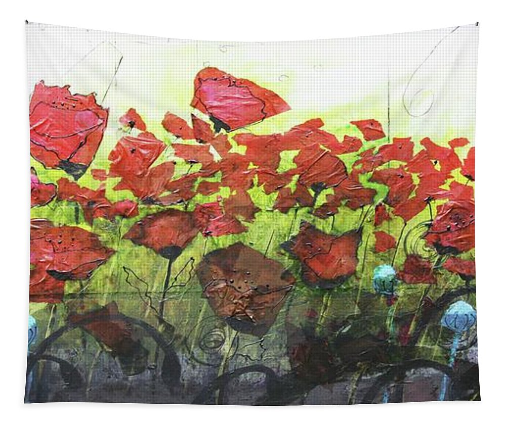 Abstract Tapestry featuring the painting Fields Of Poppies by Karla Britfeld