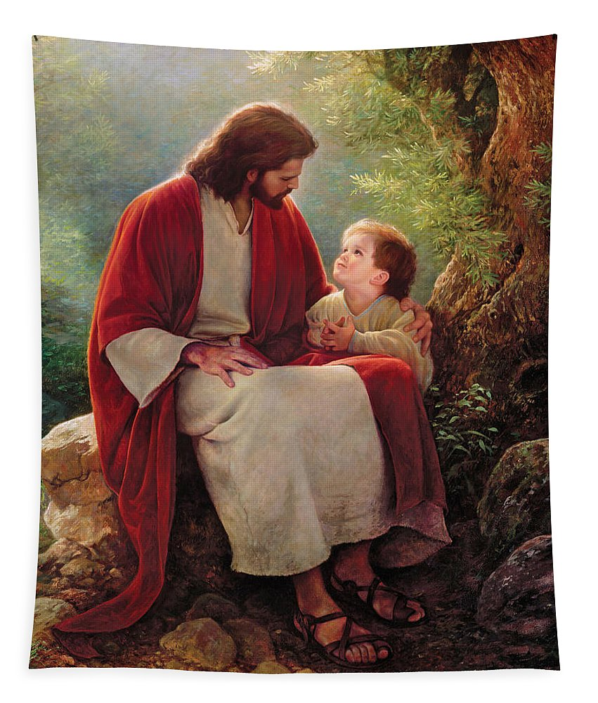 Jesus Tapestry featuring the painting In His Light by Greg Olsen