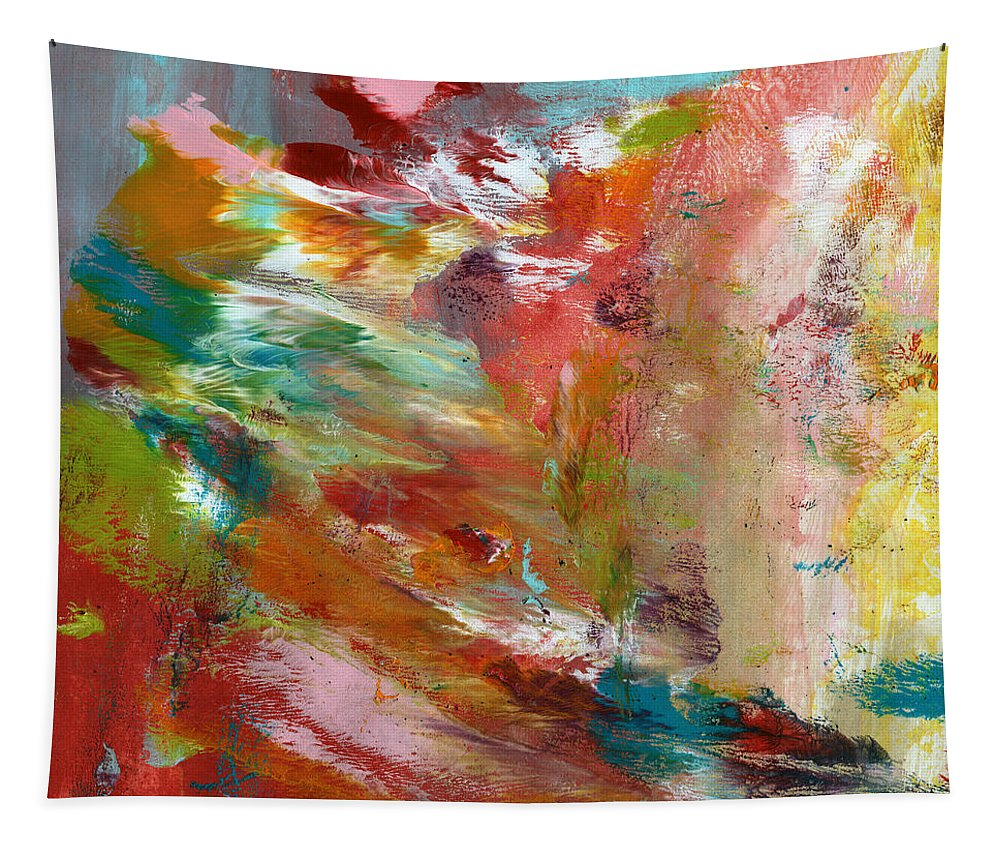 Abstract Tapestry featuring the painting In My Dreams- Abstract Art by Linda Woods by Linda Woods