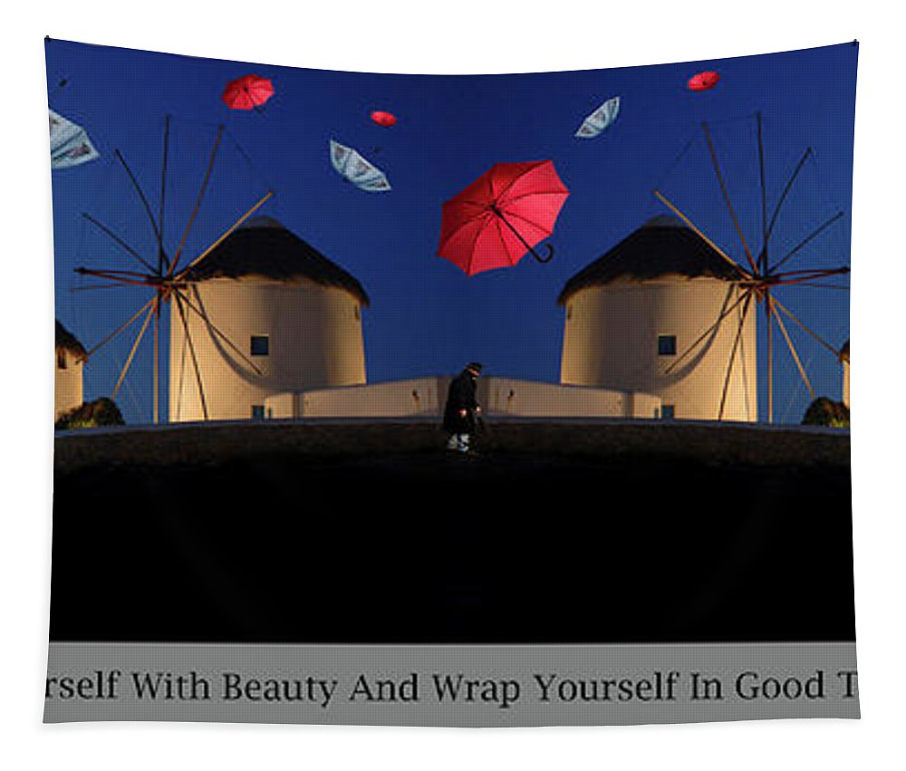Umbrellas Tapestry featuring the photograph In Search Of Beauty by Bob Christopher
